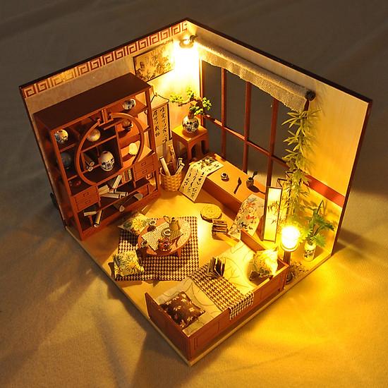 Mô hình nhà DIY Doll House Calligraphy Thư phòng cổ Kèm Mica Chống bụi