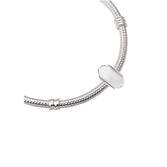 Hạt charm DIY PNJSilver hình dẹt tròn màu trắng 14344.000-BO