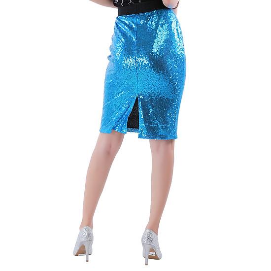 Váy Nữ Kim Sa Lưng Thun Dáng Ôm - Xanh Bích