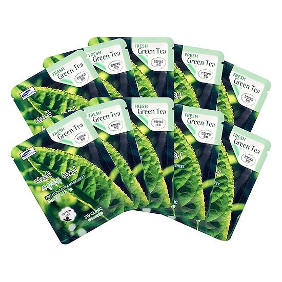 Combo 10 Gói Mặt Nạ Trà Xanh Trị Mụn Sáng Da 3w Clinic Fresh Greentea Mask Sheet 100% Cotton (23ml/Miếng)