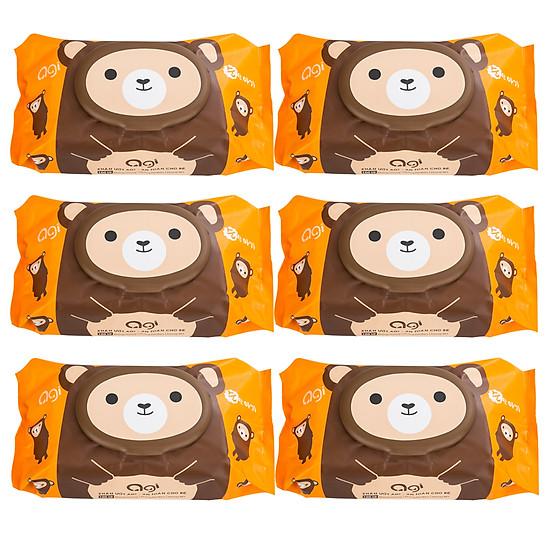 Combo 6 Gói Khăn Ướt AGI Không Mùi Gấu Nâu (100 tờ x 6 gói)