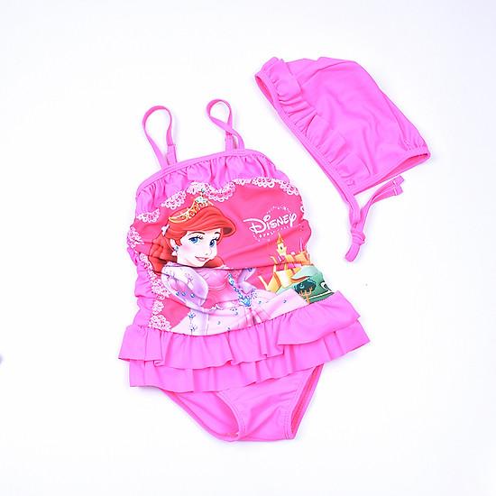 Bộ bơi 2 dây Elsa hồng váy xòe kèm mũ bé gái từ 2 đến 7 tuổi