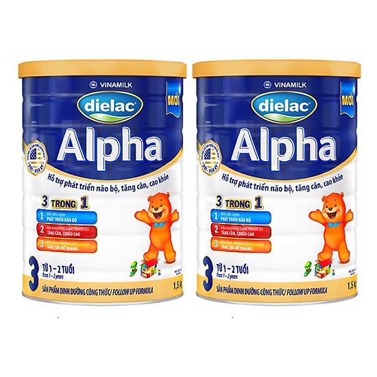 Bộ 2 hộp SỮA BỘT DIELAC ALPHA 3 1,5KG (CHO TRẺ TỪ 1 – 2 TUỔI)