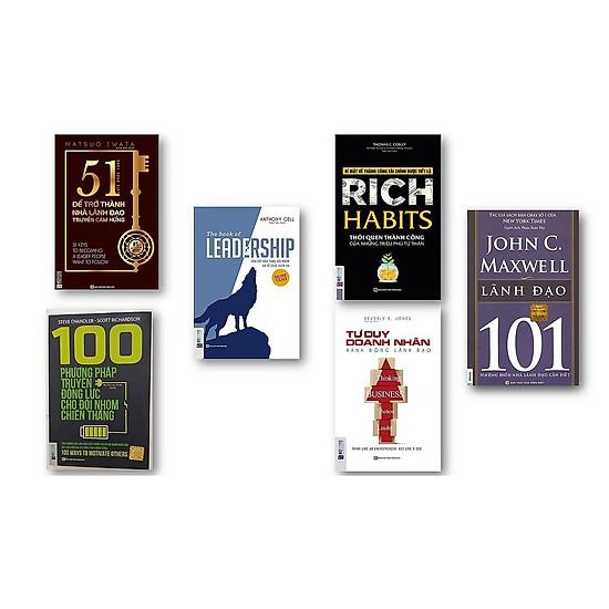 Combo 6 cuốn sách + 100 phương pháp truyền động lực cho đội nhóm chiến thắng + Rich Habits thói quen thành công của những triệu phú tự thân + Tư duy doanh nhân hành động lãnh đạo + 51 chìa khóa vàng để trở thành nhà lãnh đạo truyền cảm hứng + LEADERSHIP Dẫn dắt bản thân, đội nhóm và tổ chức vươn xa + 101 lãnh đạo