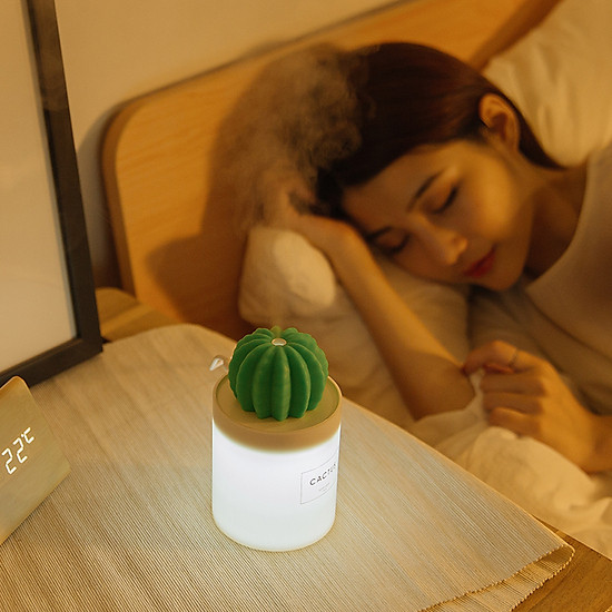 Uareliffe Mini Humidifier 280ML Cactus Ultrasonic Car Humidifier  Intelligent Timing Air Diffuser Silent Humidification Nano Small Mist Maker With LED Warm Night Light For Home Office Use - White-5