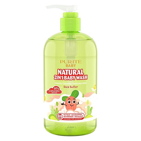 Sữa Tắm Gội Purité Baby Bơ Đậu Mỡ Natural 2in1 Baby Wash Shea Butter (500ml)