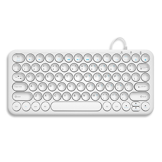 (BOW)HW098S-A mute round concave key ultra-thin wired keyboard office notebook portable USB keypad white-0