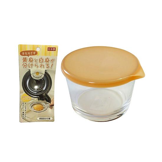 Hình đại diện sản phẩm Combo Dụng Cụ Tách Lòng Đỏ Trứng Inox + Hộp Thủy Tinh Đựng Thực Phẩm Có Nắp 250ML - Nội Địa Nhật Bản