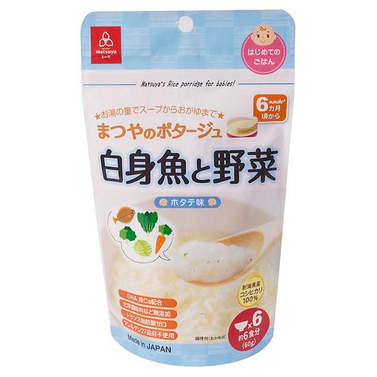 Cháo Gạo Koshihikari Ăn Dặm Matsuya Cá Thịt Trắng Và Rau Gói 60g – Dành Cho Bé Từ 6 Tháng