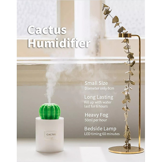 Uareliffe Mini Humidifier 280ML Cactus Ultrasonic Car Humidifier  Intelligent Timing Air Diffuser Silent Humidification Nano Small Mist Maker With LED Warm Night Light For Home Office Use - White-8
