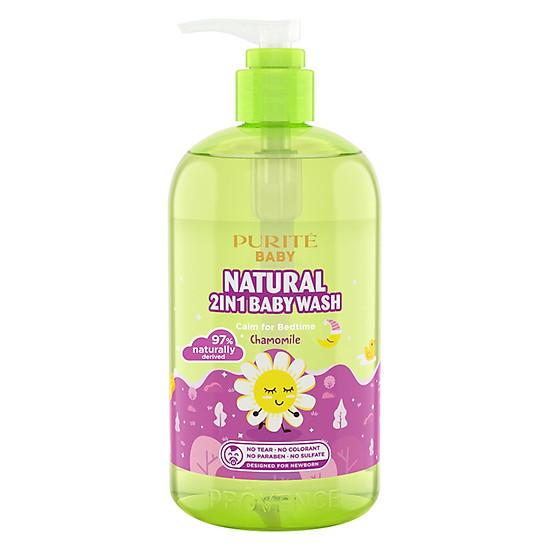 Sữa Tắm Gội Purité Baby Cúc La Mã Natural 2in1 Baby Wash Chamomile (500ml)