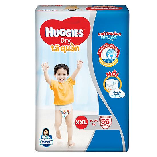 Tã Quần Huggies Dry Gói Cực Đại XXL56 (56 Miếng) - Bao Bì Mới = 385.000đ