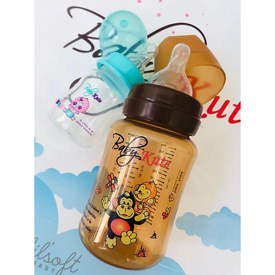 Combo Bình sữa bằng nhựa PP Babykute 260ML kèm bình tập uống 60ML nhập khẩu từ Thái Lan</