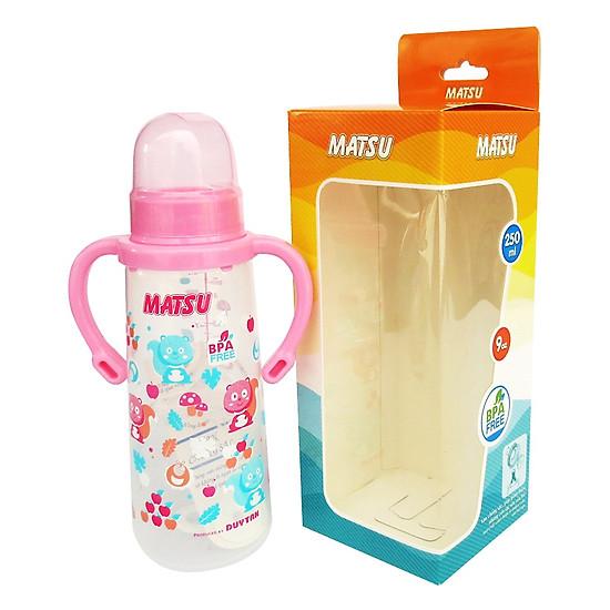 Bình sữa MATSU Duy Tân 250ml Có quai No.1207 – Giao màu ngẫu nhiên