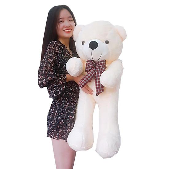 Gấu bông Trắng Sữa 1m đính nơ xinh xinh làm quà tặng