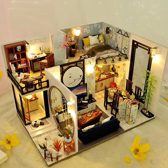 Mô hình nhà DIY Doll House Bamboo Shadow of Jiangnan Kèm Mica Chống bụi