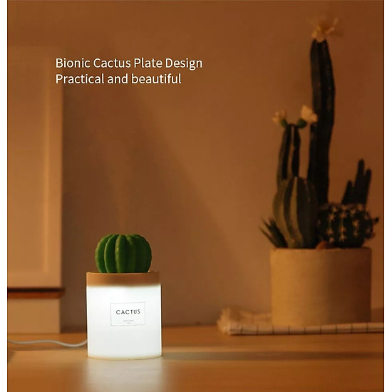 Uareliffe Mini Humidifier 280ML Cactus Ultrasonic Car Humidifier  Intelligent Timing Air Diffuser Silent Humidification Nano Small Mist Maker With LED Warm Night Light For Home Office Use - White-15
