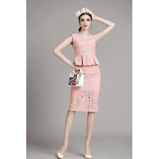 Hình đại diện sản phẩm Set áo và chân váy bút chì ren bèo SET009 - Free size