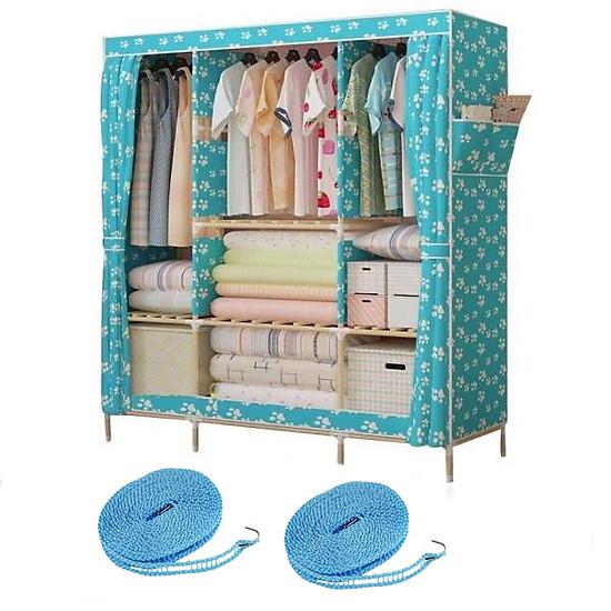 Tủ vải khung gỗ 3 buồng 8 ngăn tặng kèm 2 cuộn dây phơi quần áo