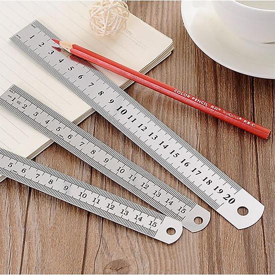 Bộ 3 thước sắt kim loại lá thép thước kẻ học sinh - 15cm 20cm và ...