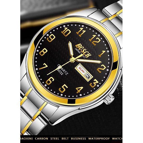 Đồng hồ nam BOSCK JAPAN MOVT dây thép không gỉ có lịch ngày, lịch thứ cao cấp BSO01