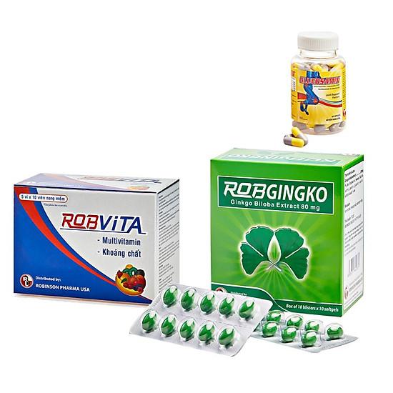 Combo bổ não sống vui - tăng cường trí nhớ, tăng cường sinh lực-Robgingko-Robvita- MediBeauty - Robinson Pharma USA