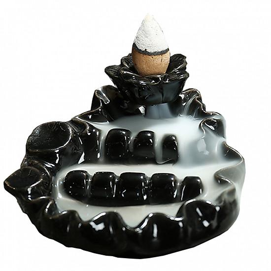 Thác khói trầm hương để bàn tặng 3 nụ trầm thác sen 4 tầng màu đen