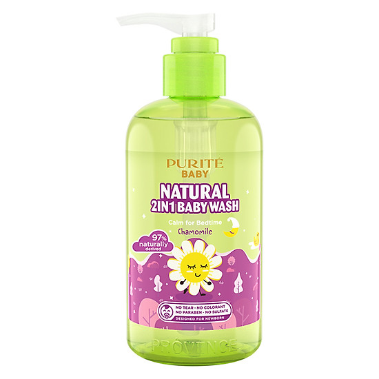 Sữa Tắm Gội Purité Baby Cúc La Mã  Natural 2in1 Baby Wash Chamomile (250ml)