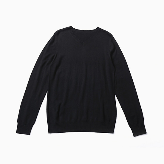 Nơi Mua [Beijing selected products × INTERIGHT] INTERIGHT men's sweater small V-neck seamless business slim sweater black L Giá Tốt Nhất