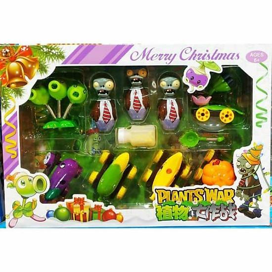 Bộ đồ chơi xếp hình trận chiến zombie hoa quả nổi giận đạn bi nhỏ (mẫu ngẫu nhiên)