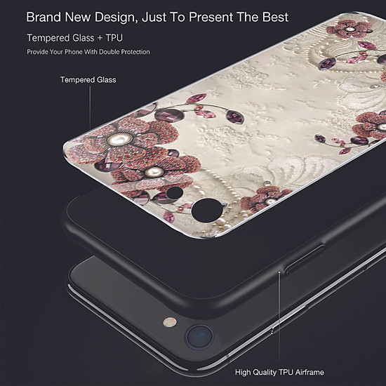 Ốp kính cường lực cho điện thoại iPhone 6 / 6S - ngọc hoa MS NGHOA009- Hàng Chính Hãng