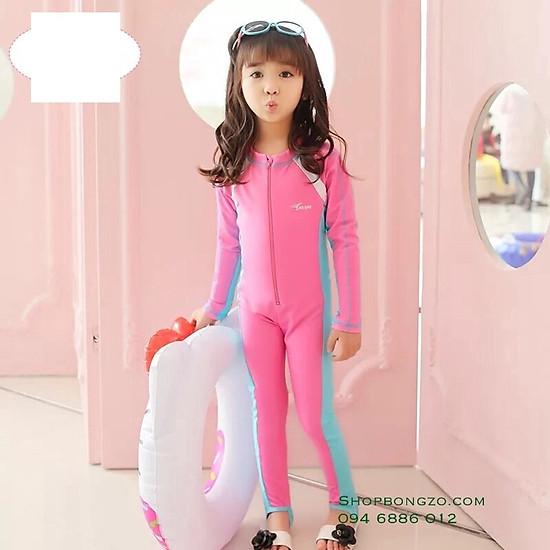 Hình đại diện sản phẩm Bộ bơi hồng liền dài bé gái từ 5-16 tuổi