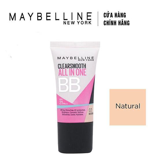 Kem Dưỡng Da Trang Điểm BB Cream Maybelline Clear Smooth SPF21 PA+++ Màu 02 Natural (18ml)