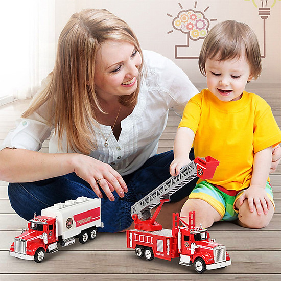 Metal Emergency Vehicles Fire Engine High Performance Alloy Red Toy Gift