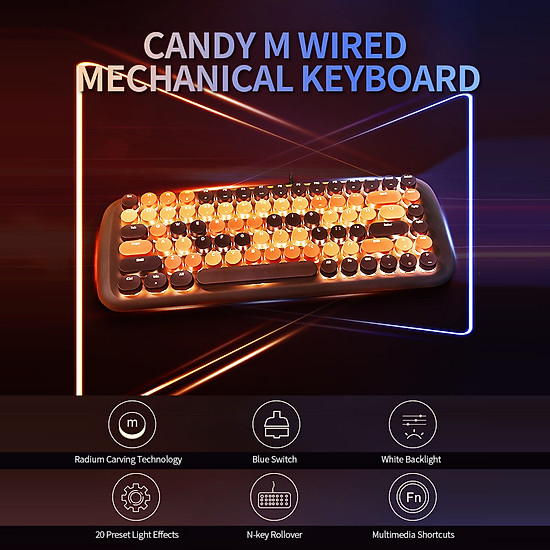 Mofii Candy M Wired Mechanical Keyboard 84 Keys Gaming Keyboard with Blue Switch White Backlight Multimedia Shortcuts - Brown-4