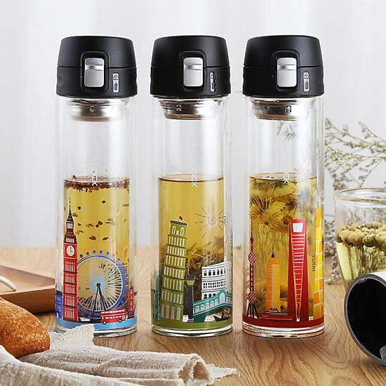 Lock & Lock (LOCK & LOCK) Teacup Glass Cup Double Glass 350ml Italian Style LLG663CRM-3