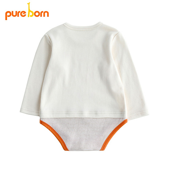 Thumb của hình Bo Ruien pureborn newborn onesies spring and autumn clothes baby clothes men and women baby triangle romper beige 59cm / 0~3 months