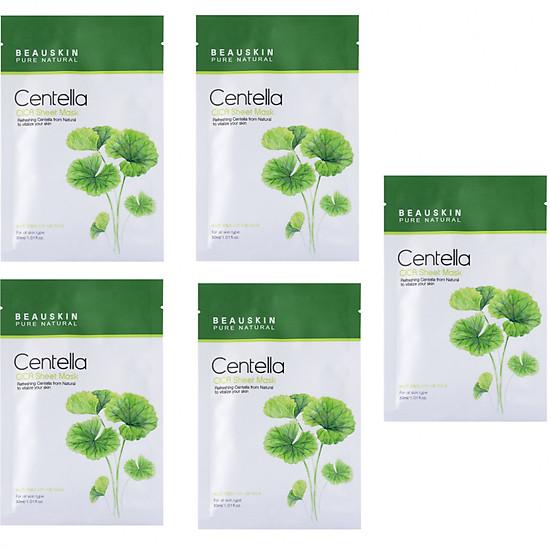 Mặt nạ trị mụn kháng khuẩn chiết xuất rau má thảo dược Beauskin Hàn quốc ( 30ml/gói)