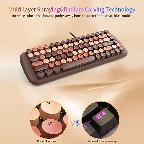 Mofii Candy M Wired Mechanical Keyboard 84 Keys Gaming Keyboard with Blue Switch White Backlight Multimedia Shortcuts - Brown-5