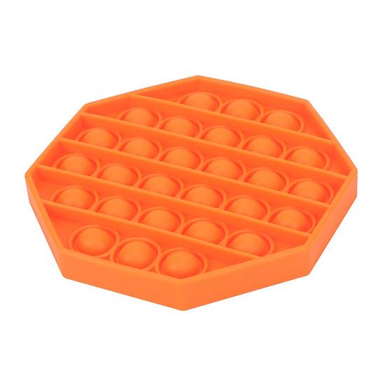 Pop Bubble Fidget Sensory Toy Pure Compression Silicone Push Pop Bubble Sensory Toy - Stress Reliever Toy to Alleviate - Orange - Octagon-0