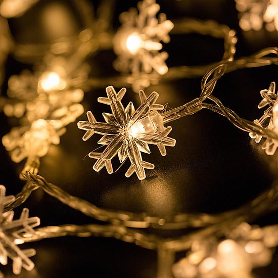 Hình đại diện sản phẩm Jingtang Christmas decorations Christmas tree small lights holiday decoration lights led lights flashing lights string lights stars stars snow lights string 4.5 meters 20 snowflakes