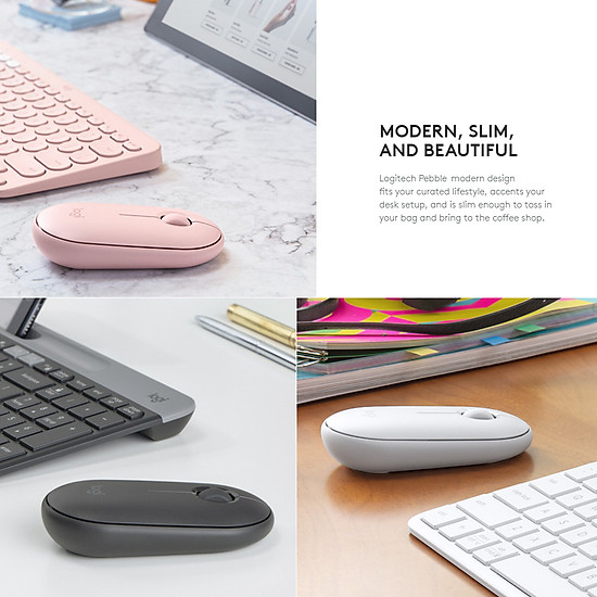 Logitech Pebble Wireless Mouse BT Mouse BT 2.4 GHz USB Receiver Dual Connectivity Slim Optical Computer Mice For Laptop - Black-4