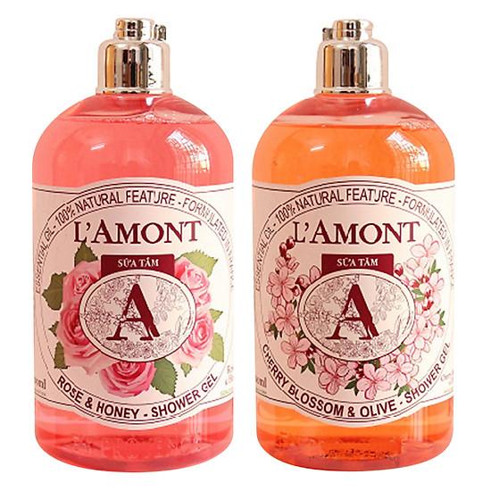 Mua Combo Sữa Tắm L'amont En Provence Cherry Blossom Shower Gel Hương Hoa Anh Đào + Hoa Hồng (500ml / Chai) ở đâu tốt?
