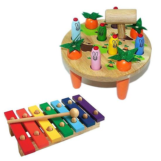 Combo đồ chơi trí tuệ : búa đập thỏ và đàn mộc cầm 7 thanh