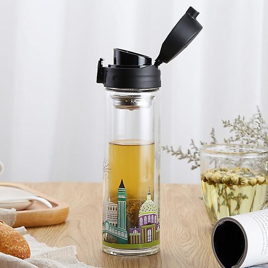 Lock & Lock (LOCK & LOCK) Teacup Glass Cup Double Glass 350ml Italian Style LLG663CRM-4