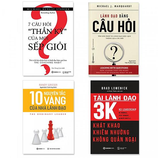 """Combo 4 cuốn về Quản trị: Lãnh Đạo Bằng Câu Hỏi, 7 Câu Hỏi """"Thần Kỳ"""" Của Mọi Sếp Giỏi, 10 Nguyên Tắc Vàng Của Nhà Lãnh Đạo, Tài Lãnh Đạo 3K"""