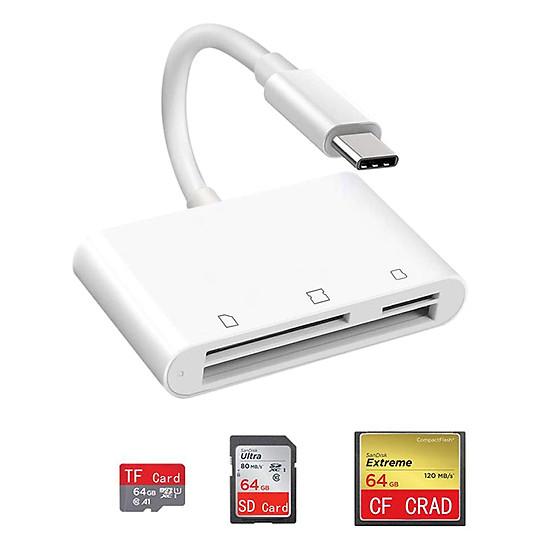 Đầu Đọc Thẻ 3 Trong 1 USB C Sang SD CF TF Cho iPad Pro 11
