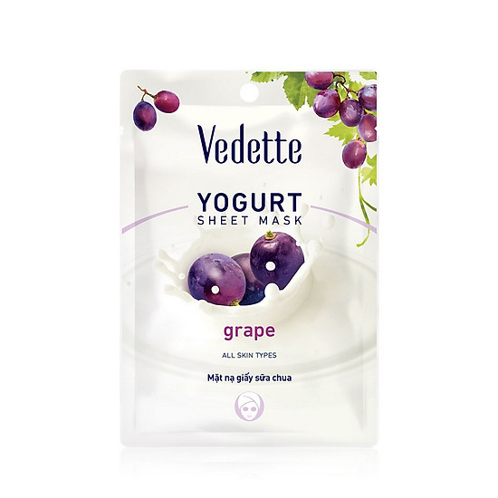 Mặt nạ giấy sữa chua nho Vedette Yoghurt Mask Sheet Grape 22ml