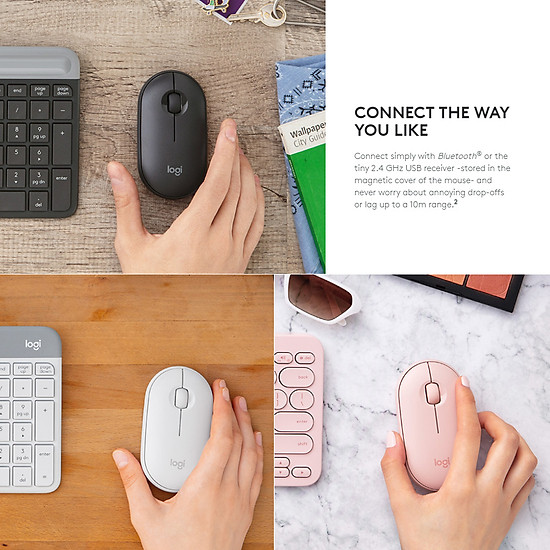 Logitech Pebble Wireless Mouse BT Mouse BT 2.4 GHz USB Receiver Dual Connectivity Slim Optical Computer Mice For Laptop - Black-5