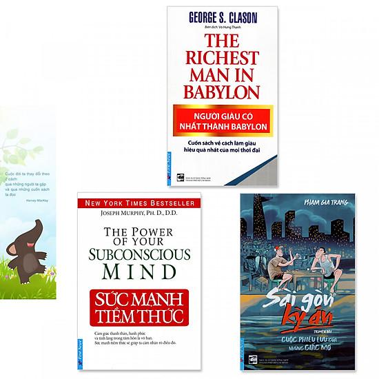 Combo 3 cuốn sách giúp người trẻ lập nghiệp:  Sức Mạnh Tiềm Thức, Người Giàu Có Nhất Thành Babylon, Sài Gòn Kỳ Án (Tặng kèm bookmark danh ngôn hình voi)